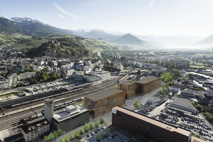 An aerial view of EPFL Valais Wallis